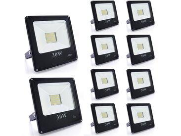 10×Auralum 30W Projecteur LED Ultra-Mince Spot Lumière Puissante 2700LM Floodlight LED Éclairage Extérieur et Intérieur Étanche IP66 Blanc Froid 6000-6500K Couleur Noir