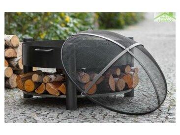 Brasero de jardin SOLAFA avec range bois en acier noir + pare-feu
