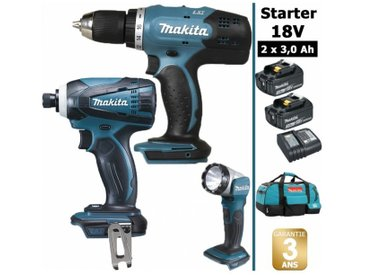 Pack Starter 18V: Perceuse 42Nm DDF453 + Visseuse à choc 160Nm DTD146 + Lampe torche DEADML802 + 2 batteries 3Ah + sac MAKITA