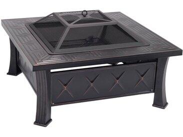 COSTWAY Braséro de Jardin Terrasses BBQ Brasero Ménager Barbecue pour Fête et Foyer Avec hausse et grill