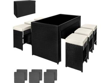 Salon Bar de jardin CAPRI Résine Tressée Aluminium 6 Tabourets + 2 Sets de housses inclus + Housse de protection Noir