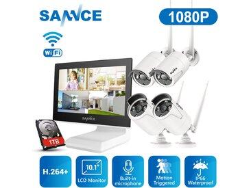 SANNCE Système de sécurité vidéo 720P Wi-Fi avec écran LCD 10.1 '' - avec disque dur 1 To