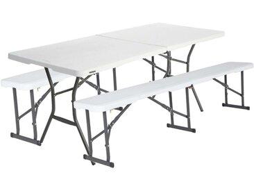Table Valise Pliante en 2 183cm + 2 bancs pliables en 2 183cm Lifetime