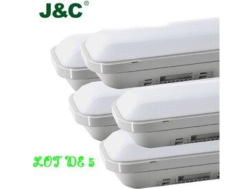 5×J&C® 60CM Tube LED 12W Néon Tube LED IP65 Lumière LED Anti-Poussière Anti-Choc Anti-Corrosion Blanc Neutre 4000K