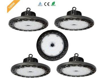 5×Anten Projecteur LED 100W Phare de Travail de Super Luminosité 13000LM Spot High-Bay Lampe LED Étanche IP65 Éclairage Intérieur et Extérieur Certification CE et TÜV (Blanc Froid 6000K)