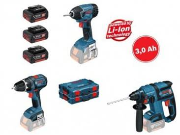Coffret 3 outils sans fils Perceuse GSR 18 V-LI + Perforateur GBH 18 V-EC + Visseuse à chocs GDR 18 V-LI BOSCH 0615990GV2