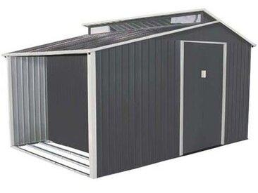 Abri de jardin avec bûcher en métal 8,13 m² + kit d'ancrage inclus
