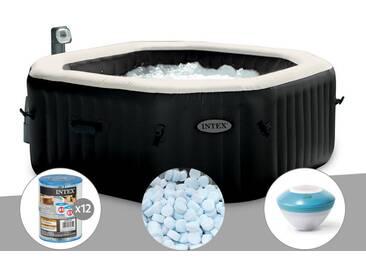 Spa gonflable Intex PureSpa octogonal Bulles et Jets 6 places + 12 Cartouches de filtration + 5 kg de Sel + Enceinte LED