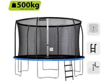 GREADEN Trampoline extérieur rond Freestyle bleu 360 + Échelle + Kit dancrage Pack Médium Fitness jardin - Ø 366cm 12FT
