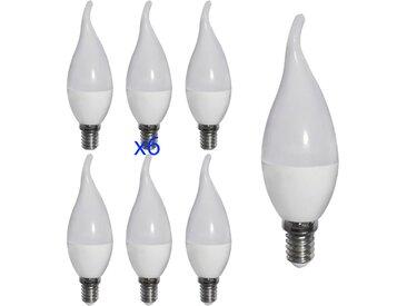Lot de 6 Ampoules LED E14 6W Flamme coup de vent eq 40W | Blanc Chaud (2700K)