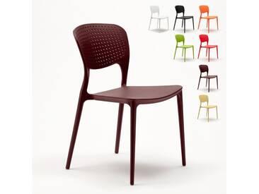Chaise cuisine bar café polypropylene emplilable interiors exteriors GARDEN GIULIETTA | Marron