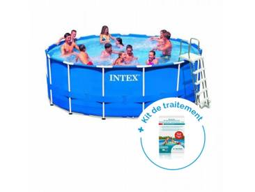 Pack Kit piscine tubulaire Intex MetalFrame 4,57 x 1,22 m + Traitement pour piscines < 20 m³