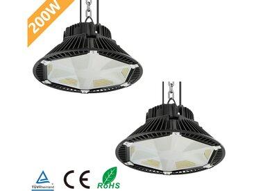 2×Anten 200W UFO LED Anti-Éblouissement Rond Industriel LED Étanche IP65 Projecteur Extérieur Blanc Froid 6000K (Boîte de Jonction Fournie)