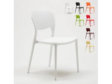 Chaise cuisine bar café polypropylene emplilable interiors exteriors GARDEN GIULIETTA | Blanc