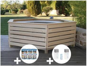 Pack spa gonflable Intex PureSpa rond Bulles 4 places + Habillage en bois AquaZendo + 6 filtres + Kit traitement brome