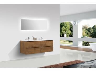 Meuble salle de bain Alice 1380 couleur chêne - Miroir en option: Mat, Avec miroir 2137