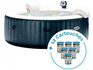Spa gonflable Intex PureSpa Plus Bulles 6 personnes + 12 Cartouches Pure Spa