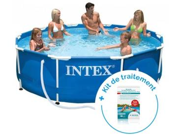 Pack Piscine tubulaire Intex MetalFrame 3.66 x 0.76 m + Traitement pour piscines < 10 m³