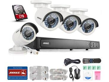 Kit caméra de surveillance extérieur 4CH 1080p NVR +2 MP 4 caméras vision nocture 100ft – disque dur de 1TB