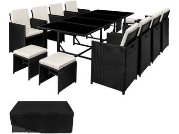 Salon de Jardin PALMA, Ensemble avec 8 Chaises 4 Tabourets et 1 Table en Résine Tressée et Acier avec 1 Housse Noir