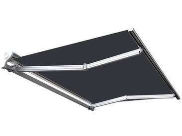 Store banne manuel Demi coffre pour terrasse - Blanc métallisé - Gris - 3,6 x 3 m