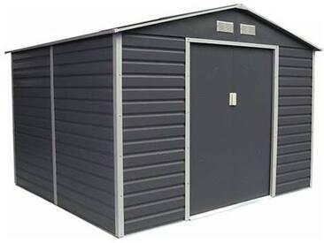 Abri de jardin métal coloris gris anthracite 6,54 m2. + kit dancrage inclus