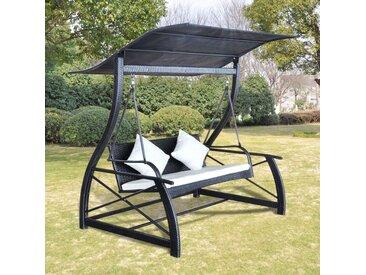 Balancelle de jardin Rotin synthétique Noir 167x130x178cm