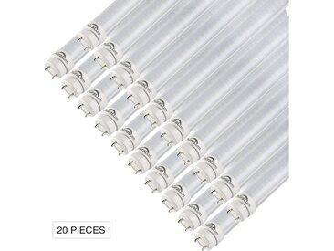 20×Auralum 150cm 24W T8 G13 Blanc Chaud 2800-3200K 2835*144LED 2500LM LED Lumière Fluorescente Tube avec Couverture Rayée et Starters