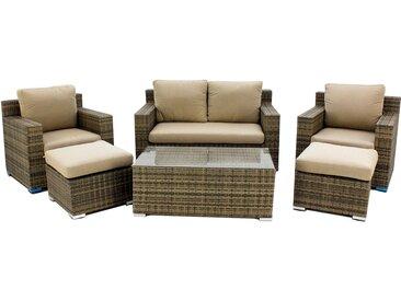 Ensemble canapé 2 places avec 2 fauteuils, 2 tabourets et table Hevea Abasari -7