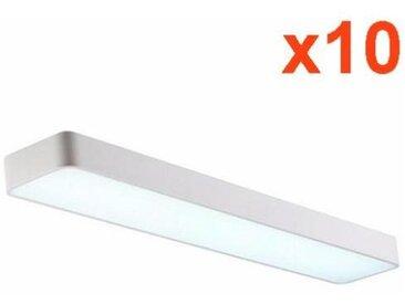 Réglette Lumineuse LED 120cm 38W Suspendue BLANC (Pack de 10) - couleur eclairage : Blanc Neutre 4000K - 5500K