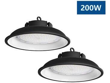 2×Anten Top 200W UFO Projecteur LED Lampe Industrielle Suspension IP65 Phare de Travail 13000LM Spot Lumière Blanc Froid 6000K Coque Noir