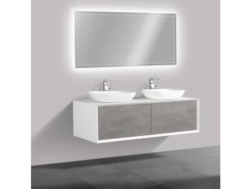Ensemble de salle de bain en bois MDF Fiona 1400 blanc mat - Façade aspect béton - miroir et vasque en option: Avec miroir LED 2137, 2 x vasque à poser O-540, Avec 2 couvercles suppl.blanc