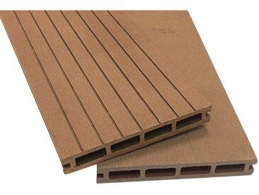 Lot de 4 m² lames de terrasse brun composite + lambourdes + clips