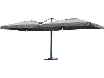 Parasol IBIZA compose de 2 toiles de 3x3m en aluminium gris anthracite et polyester - GRIS