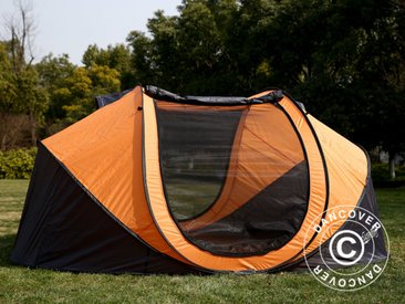 Tente de camping autoportante FlashTents®, 4 personnes, Large, Orange/gris foncé