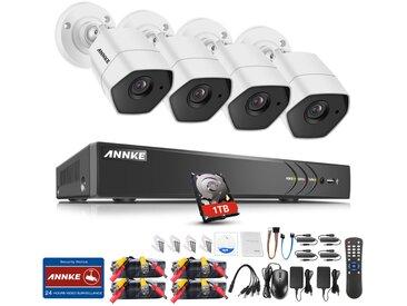 Kit caméra de surveillance filaire 8CH 5 en 1 DVR 3MP enregistreur + 4 caméra HD 3MP Extérieur vision nocture 20m – avec 4 caméra bullet+ disque dur 1 TB