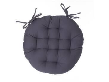 Atmosphera - Galette de chaise ronde gris foncé D40