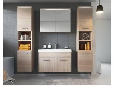 Meuble de salle de bain de Paso xl 80x40cm lavabo Sonoma – Armoire de rangement Meuble lavabo armoire miroir