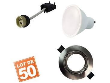 Lot de 50 Spots encastrable orientable INOX avec GU10 LED de 5W eqv. 40W Blanc Chaud 2800K
