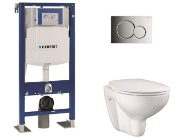 Pack Geberit UP320 + Cuvette GROHE sans bride Bau Ceramic + plaque sigma CHR brillante