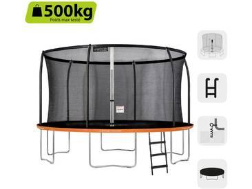 GREADEN Trampoline de jardin rond FREESTYLE « + » 430 Pack MAX + Échelle + Housse de protection + Kit dancrage