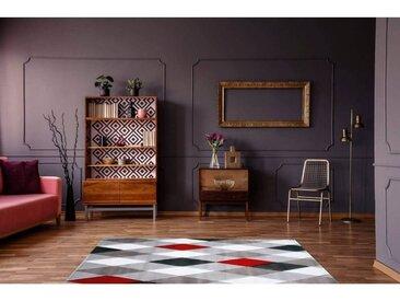 Tapis scandinave pour salon géométrique Lucie Rouge 200x290