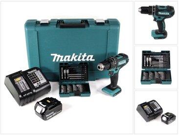 Makita DHP 482 ST1 18 V Li-Ion Perceuse-visseuse à percussion sans fil Verte + 1x Batterie BL 1850 B 5,0 Ah + Chargeur DC 18 SD + Coffret de transport + Set de 38 Pièces d'Embouts- & Forets
