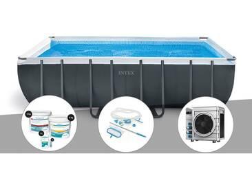 Kit piscine tubulaire Intex Ultra XTR Frame rectangulaire 5,49 x 2,74 x 1,32 m + Kit de traitement au chlore + Kit dentretien + Pompe à chaleur