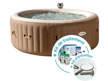 Spa gonflable Intex PureSpa Bulles 4 personnes + Kit dentretien + Kit de traitement au brome
