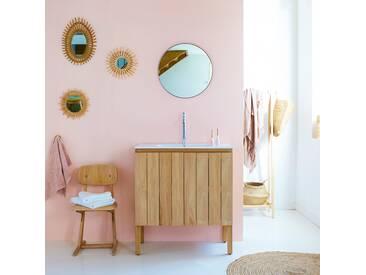 Meuble Salle de bain en bois de teck et céramique 80 Jill