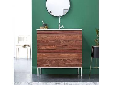 Meuble Salle de bain en bois de palissandre et céramique 80 Nova