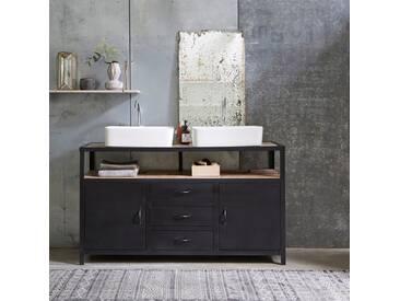 Meuble Salle de bain en métal et bois de manguier 140 Industriel