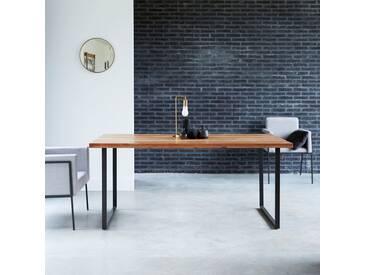 Table en métal et bois dacacia 175x90 Temis