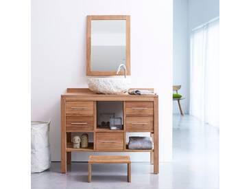 Meuble Salle de bain en bois de teck brut 100 Galyno